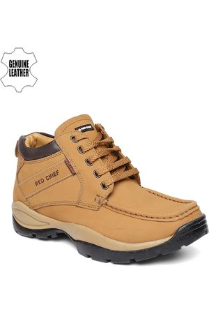 Red Chief Men Khaki Solid Leather Mid-Top Trekking Shoes