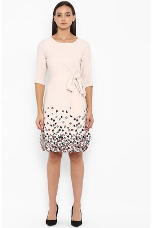 Park Avenue Women Beige Printed Fit and Flare Dress