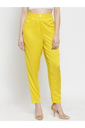 Sera Women Yellow Regular Fit Solid Peg Trousers