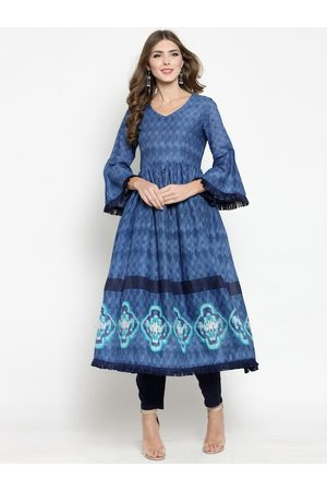 Sera Women Blue Printed A-Line Kurta