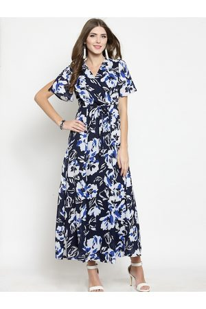 Sera Women Navy Blue & White Printed Maxi Dress