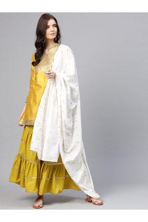 Bhama Couture Women Mustard Yellow & Green Yoke Design Kurti with Sharara & Dupatta