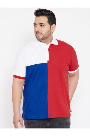 Bigbanana Plus Size Men Red Colourblocked Polo Collar T-shirt