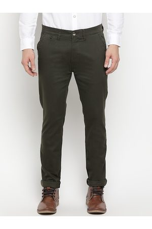 Pepe Jeans Men Olive Green Slim Fit Solid Chinos
