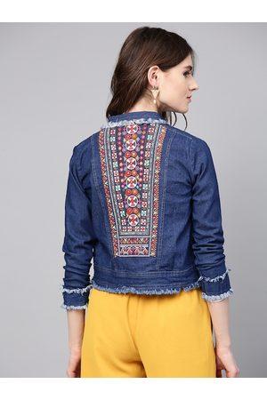 Bhama Couture Women Blue Washed Denim Jacket