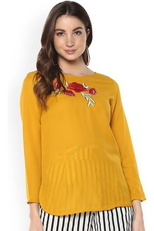 Mayra Women Mustard Yellow Solid A-Line Top