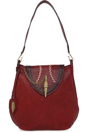 Hidesign Red Solid Leather Shoulder Bag