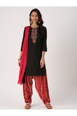 IMARA Women Black & Red Embroidered Kurta with Salwar & Dupatta