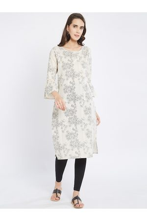 Fusion Beats Women Off-White Printed Straight Kurta