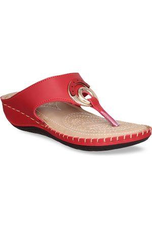MSC Women Red Solid Open Toe Flats