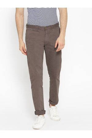 Blackberrys Men Taupe Slim Fit Solid Chinos