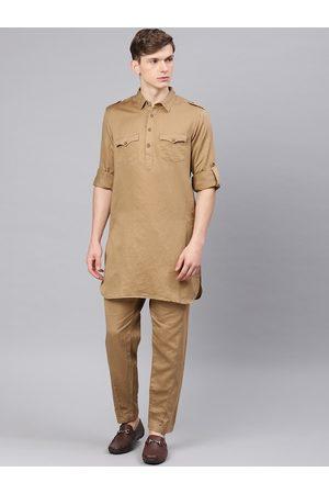 Freehand Men Khaki Solid Kurta with Pyjamas