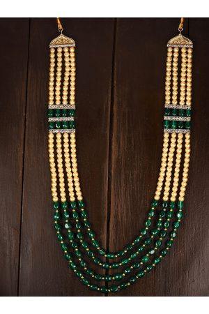 Zaveri Pearls Men Gold-Toned & Green Multi Layered Necklace