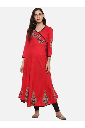 Yash Gallery Women Red Solid Anarkali Kurta