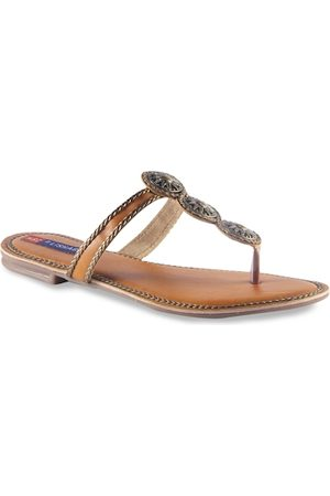 MSC Women Bronze-Toned Textured T-Strap Flats