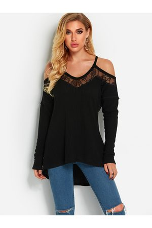 YOINS Lace Trim Cold Shoulder Long Sleeves Knitted T-shirt