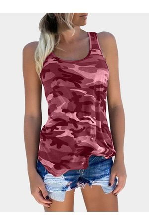 YOINS Camouflage Round Neck Y-back Tank Top In Red