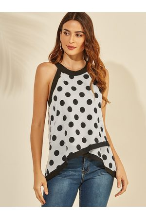YOINS Tiered Design Polka Dot Halter Tank Top