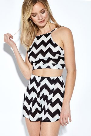 YOINS & White Semi Sheer Wave Print Co-ords