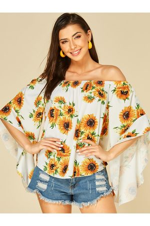 YOINS Sunflower Printed Off The Shoulder Flounced Sleeves Top