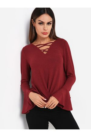 YOINS Lace-up Front Design Knot Detail Long Bell Sleeves Tee
