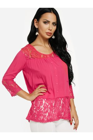 YOINS Rose See-through Button-down Lace Hem Top
