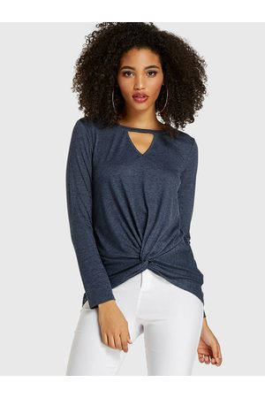 YOINS Cut Out V-neck Long Sleeves Tee