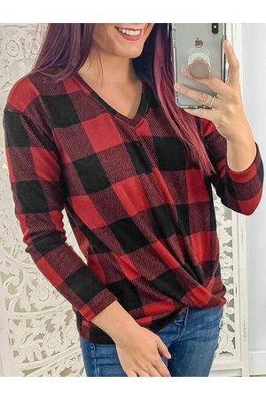 YOINS Color Block Check Twisted Long Sleeves Tee