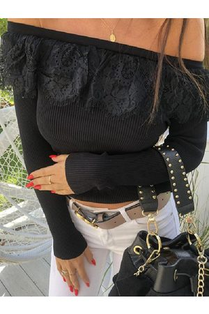 YOINS Black Lace Off The Shoulder Long Sleeves Tee