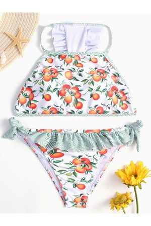 YOINS Fruit Print Tie-up Side Ruffle Bikini Set in