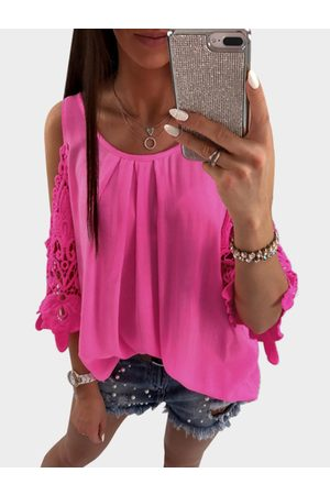 YOINS Rose Cold Shoulder Top With See Through Lace Insert Sleeves