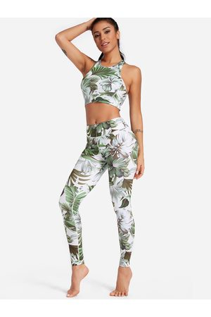 YOINS Leaf Print Crew Neck Sleeveless High-waisted Tracksuit