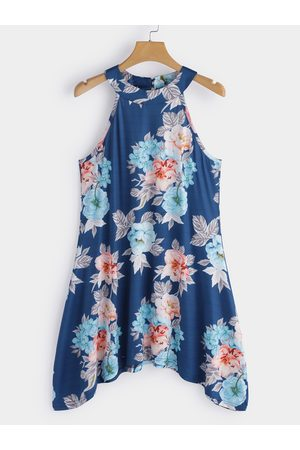 YOINS Blue High Neck Floral Print Cami Top