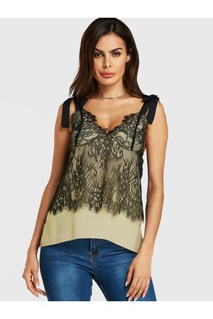 YOINS Lace Patchwork Straps Knotted V-neck Cami