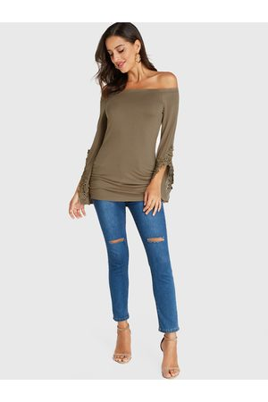 YOINS Lace Off The Shoulder Long Sleeves Top