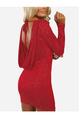 YOINS Backless Long Sleeves Bodycon Dress