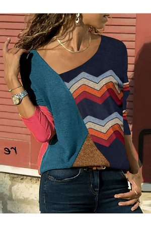 YOINS Color Block V Neck Long Sleeves Tee