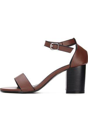YOINS Ankle Strap Peep Toe Chunky Heel Leather Look Sandals