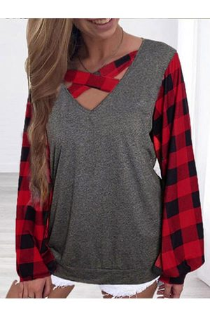 YOINS Multicolor Criss-cross Plaid Splice V-neck Long Sleeves Tee