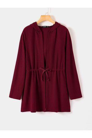 YOINS Burgundy Lace-up Design Long Sleeves Cardigan
