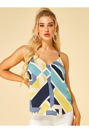 YOINS Multi Geometrical Print Adjustable Shoulder Straps V-neck Cami