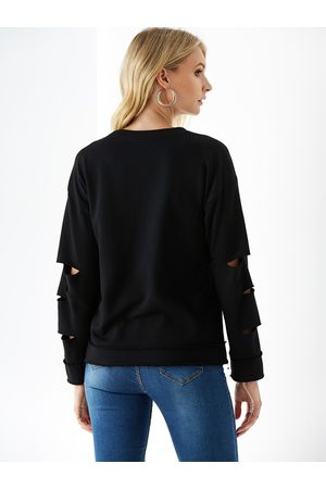 YOINS Round Neck Cut Out Long Sleeves Tee