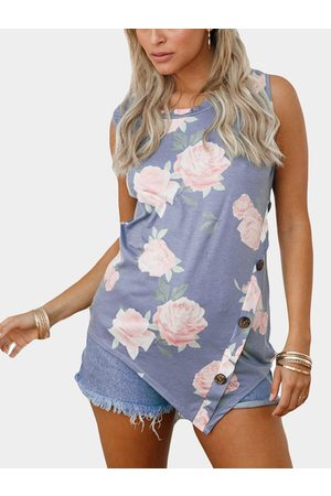 YOINS Floral Print Round Neck Button-down Tank Top