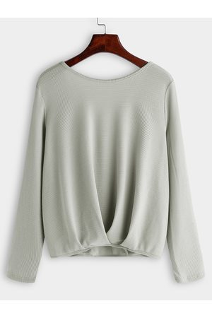 YOINS Backless Design Cross Back Round Neck Long Sleeves T-shirts