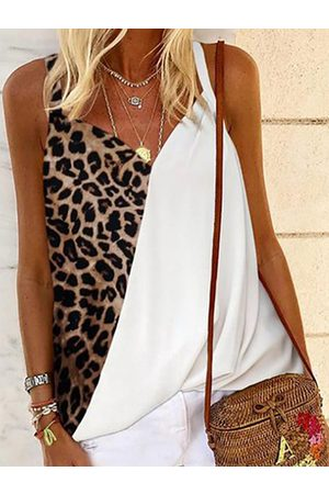 YOINS Leopard Patchwork V-neck Sleeveless Cami