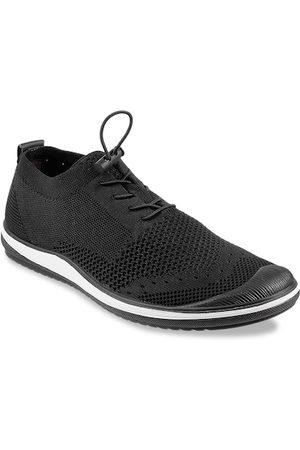 Metro Men Black Woven Design Sneakers