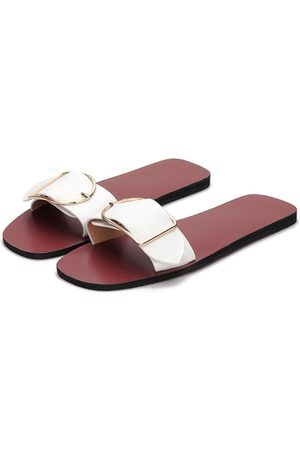 YOINS Women Indoor Shoes - One Pin Buckle Strap Simple Slippers