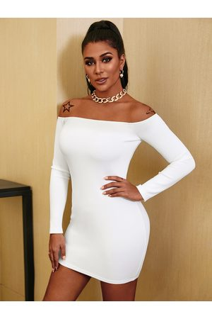 YOINS See-through Off Shoulder Long Sleeves Bodycon Dress