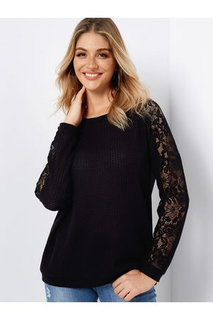 YOINS Women Long Sleeve - Lace Insert Round Neck Long Sleeves Knitted Top