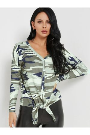 YOINS Women Tops - Camouflage V-neck Button-up Tie-up Hem Top